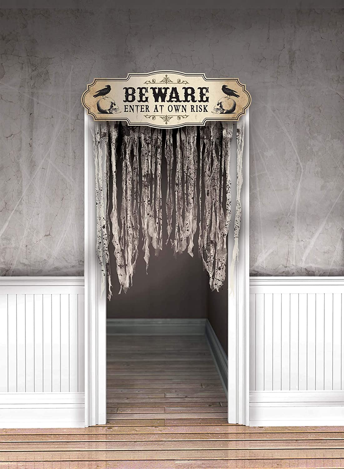 "amscan Dreadful Boneyard Halloween Party""Beware"" Door Curtain Decoration, 1ct, One Size (241455)"