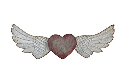 Amazoncom Creative Co Op Red Heart With Wings Wall Décor Home
