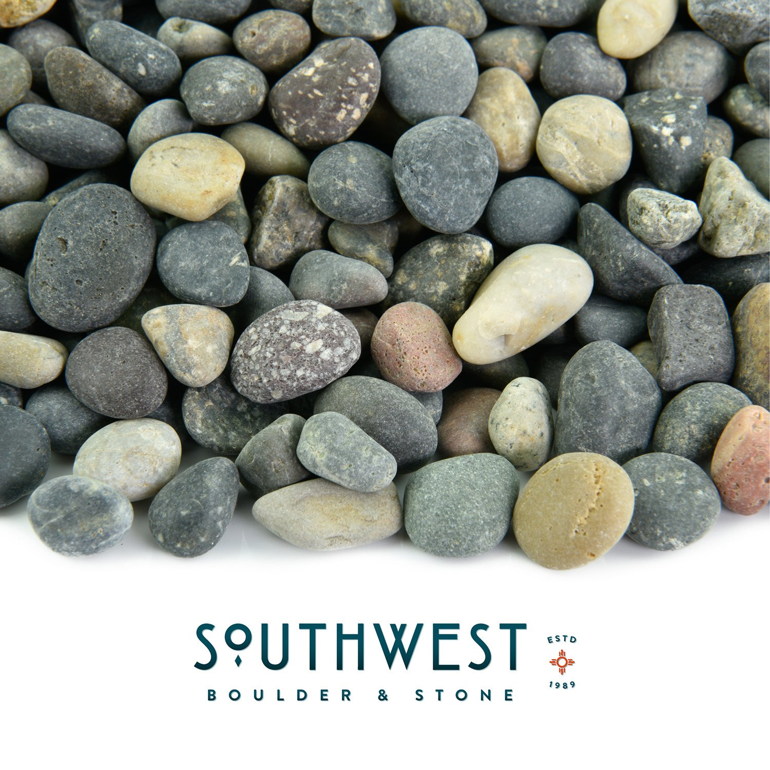 Fire Pit Essentials Mexican Beach Pebbles | 20 Pounds of Smooth Unpolished Stones | Hand-Picked, Premium Pebbles for Garden and Landscape Design | Mixed, 3/8 Inch