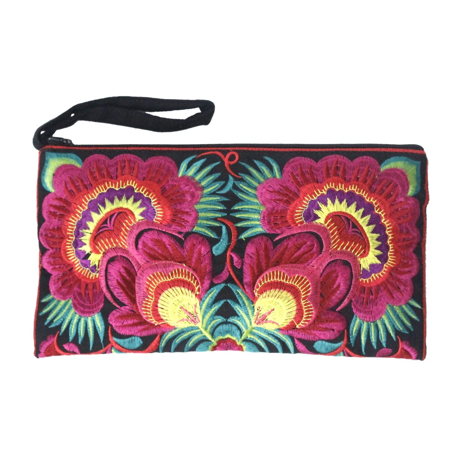 869893c0cccd Sabai Jai - Floral Embroidered Boho Clutch - Handmade Ethnic Flower  Wristlet Purse product image