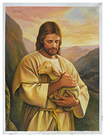 Amazon Com Jesus Christ With Lamb Hand Painted Oil Painting The