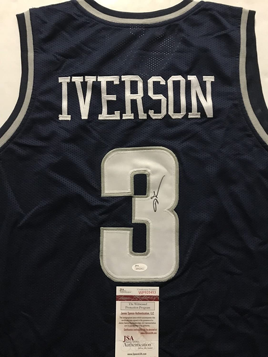 cheaper 662ef 88408 Autographed/Signed Allen Iverson Georgetown Blue College ...