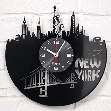 New York Vinyl Clock Wall Art Decor for Living Room Statue of Liberty Modern Art Gift