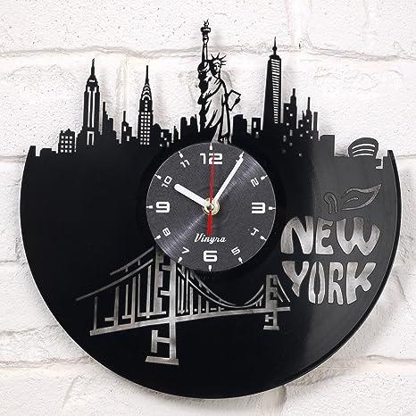 Reloj de pared Art Decor para salón de vinilo de Nueva York Estatua de la libertad arte moderno ...