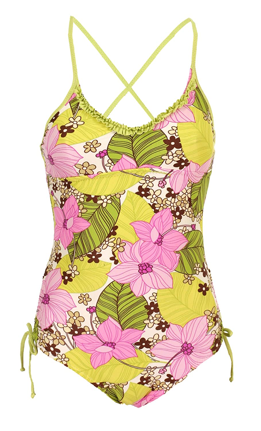 Point Conception Girls Ruffle One Piece Retro Floral