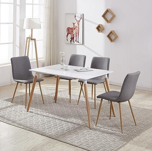 Madera rectangular mesa de comedor con 4 sillas para comedor de ...