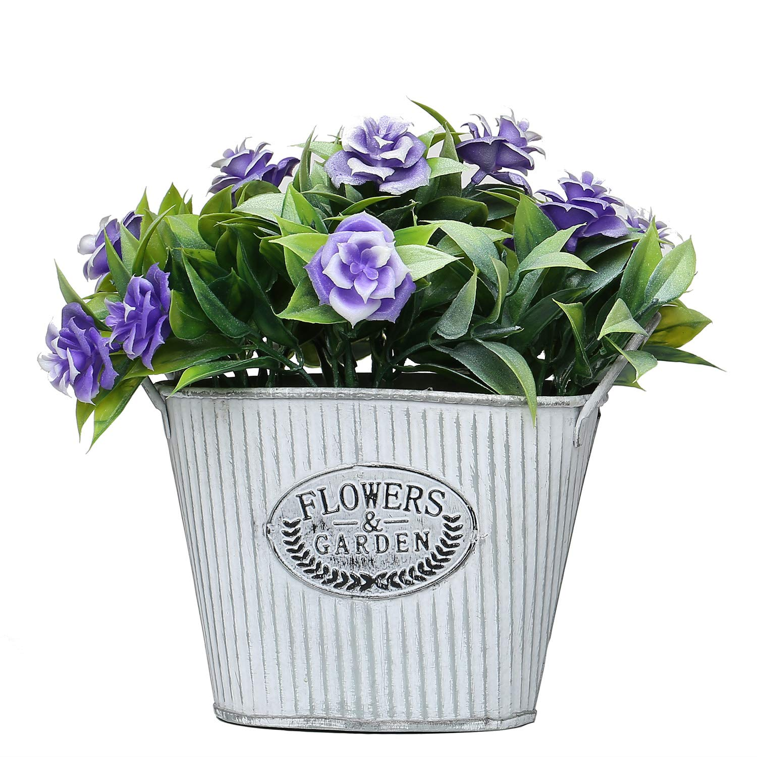 MIXROSE Artificial Flowers with Vase Mini Wild Rose Faux Plant Purple in Steel Pot for Home Wedding Decor