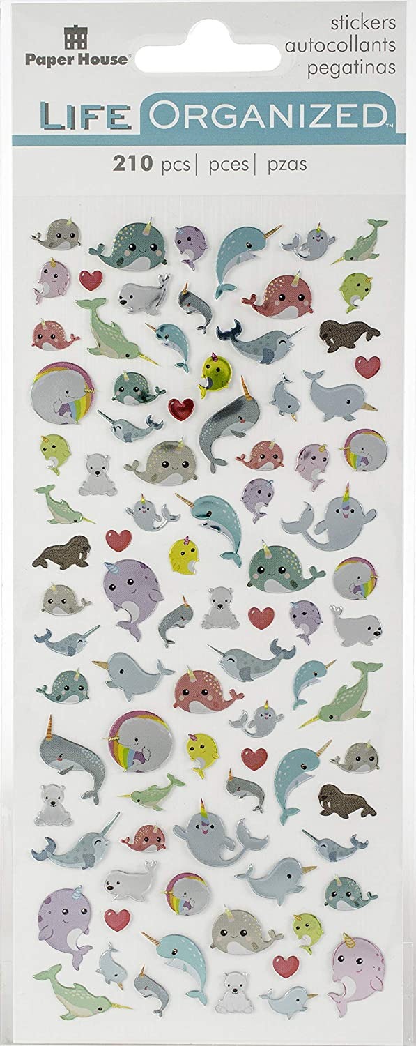 3-pack Multi 3 Piece Paper House Productions STM-0019E STM-0019 Narwhal Micro Stickers