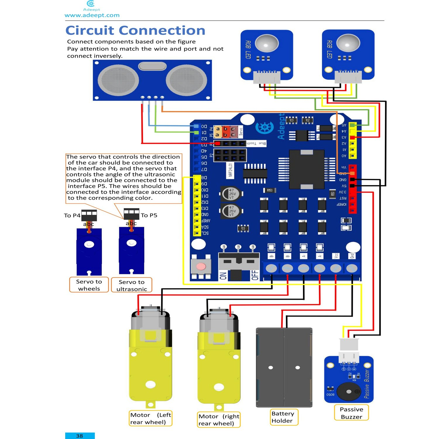 Adeept Smart Car Kit for Arduino, Remote Control Car Based
