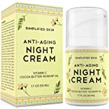 Anti-Aging Night Cream for Face - Collagen Boost, Fine Lines + Wrinkle. Facial Vitamin C Moisturizer with Cocoa Butter…