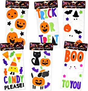 Gift Boutique 6 Pack Halloween Window Gel Clings Decals includes Happy Halloween Ghosts Boo Pumpkins Haunted House Bat Tombstone Skull Decorations Accessories by