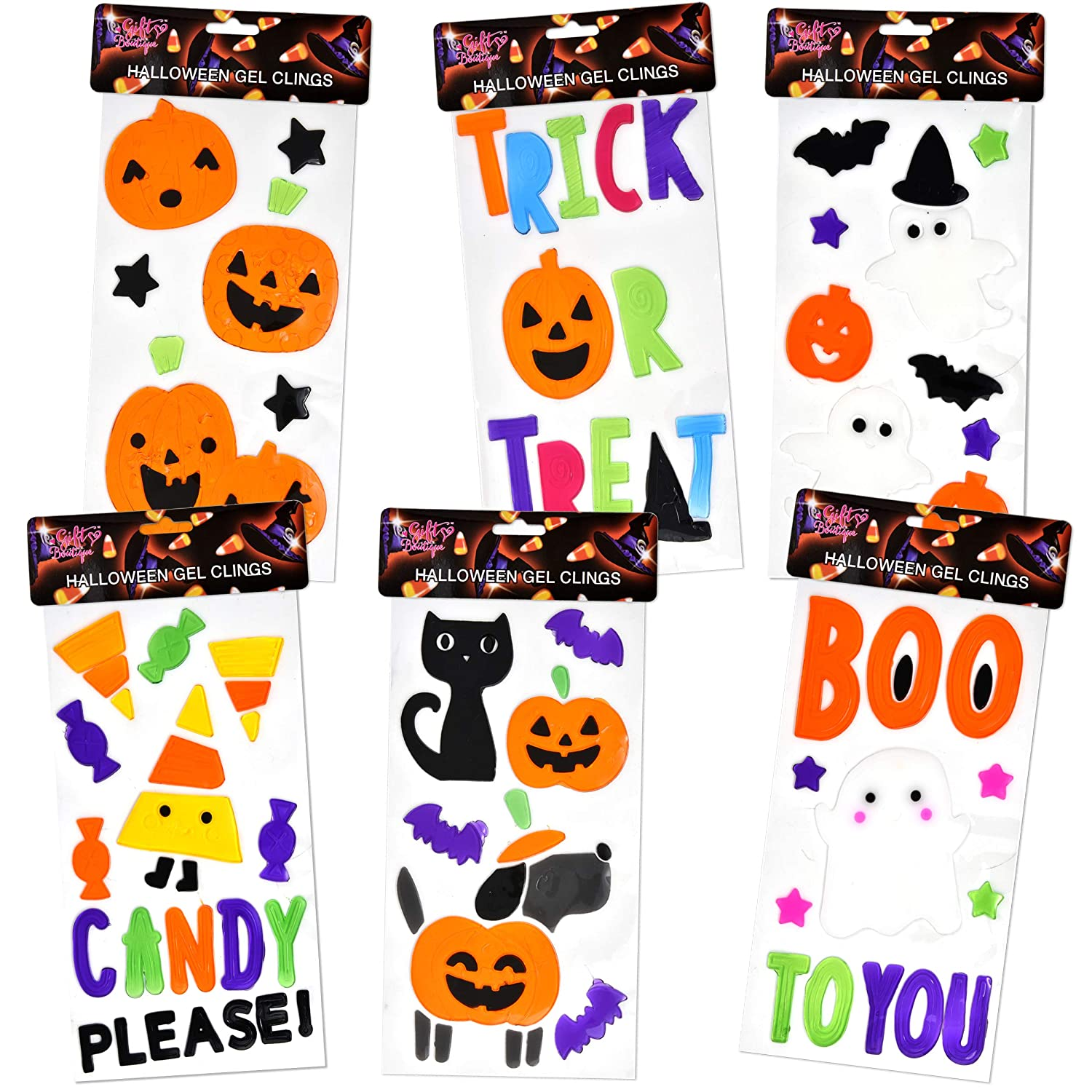6 Halloween Window Gel Clings; Pumpkins, Bats, Ghosts, Witch, Black Cats, Haunted House & More.. Gift Boutique