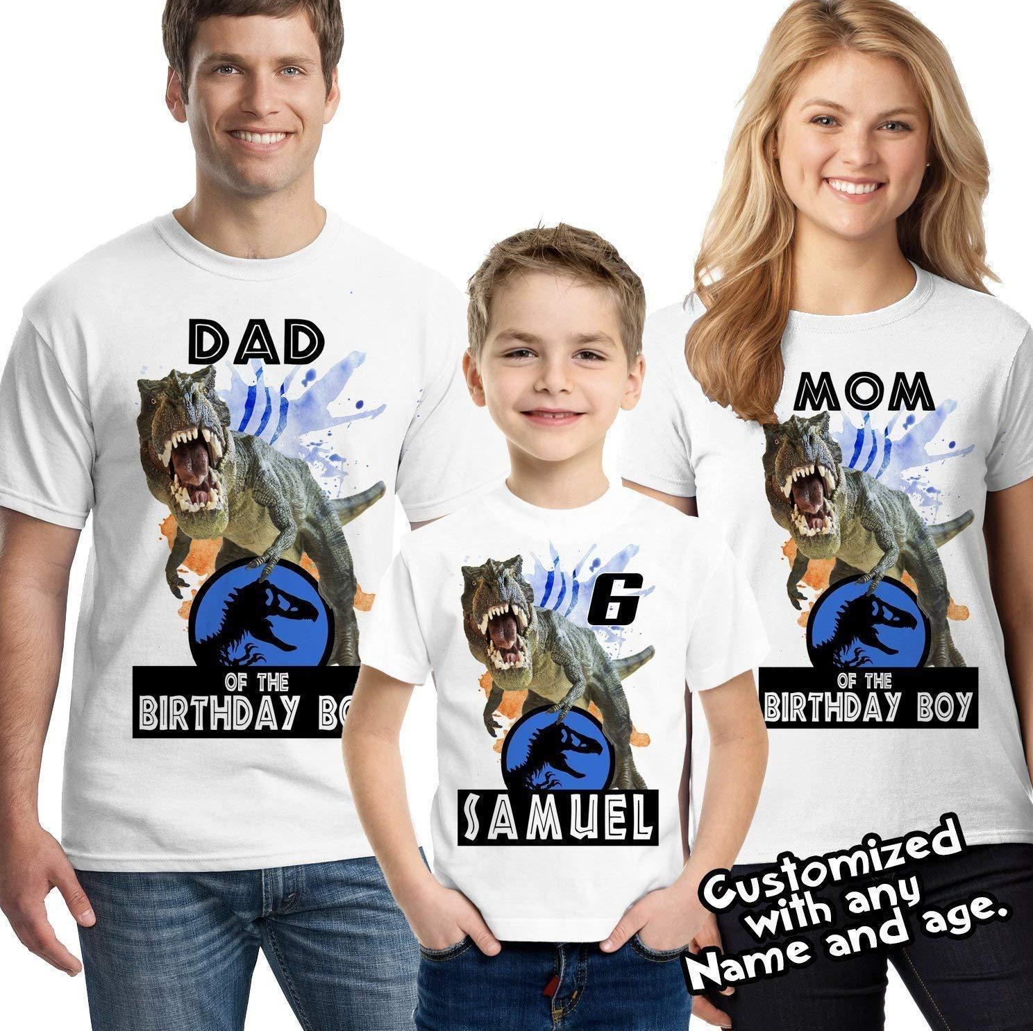 6b2004cb Amazon.com: Jurassic World Dinosaurs Custom T-shirt, Dinosaur Birthday Shirt:  Handmade