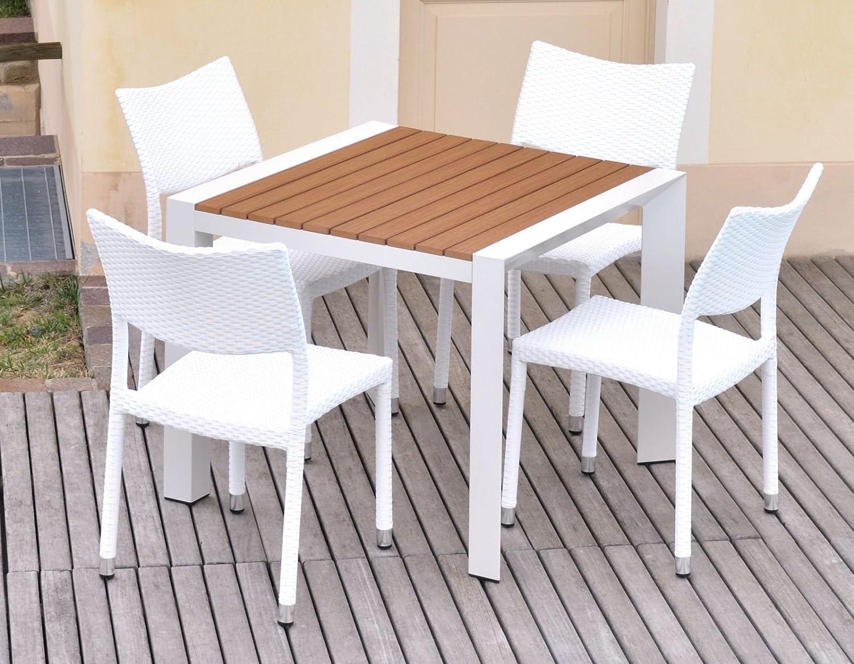 gartentisch f r au en aus aluminium und polywood 4 sitzer mit st hle polyrattan kate jetzt kaufen. Black Bedroom Furniture Sets. Home Design Ideas