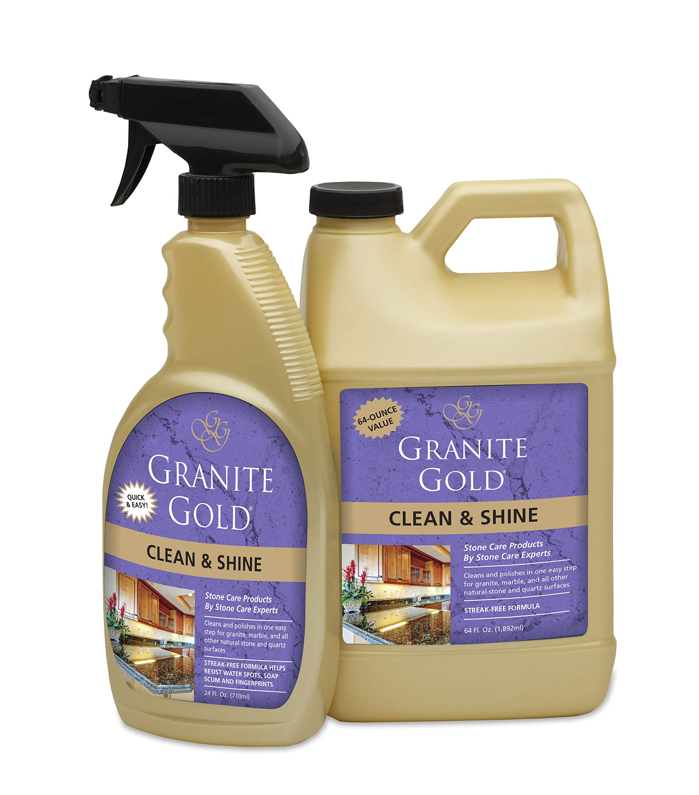 Granite Gold Clean and Shine Spray and Refill Value Pack - Polishes and Deep Cleans Natural Stone Surfaces, Made in The USA by Granite Gold
