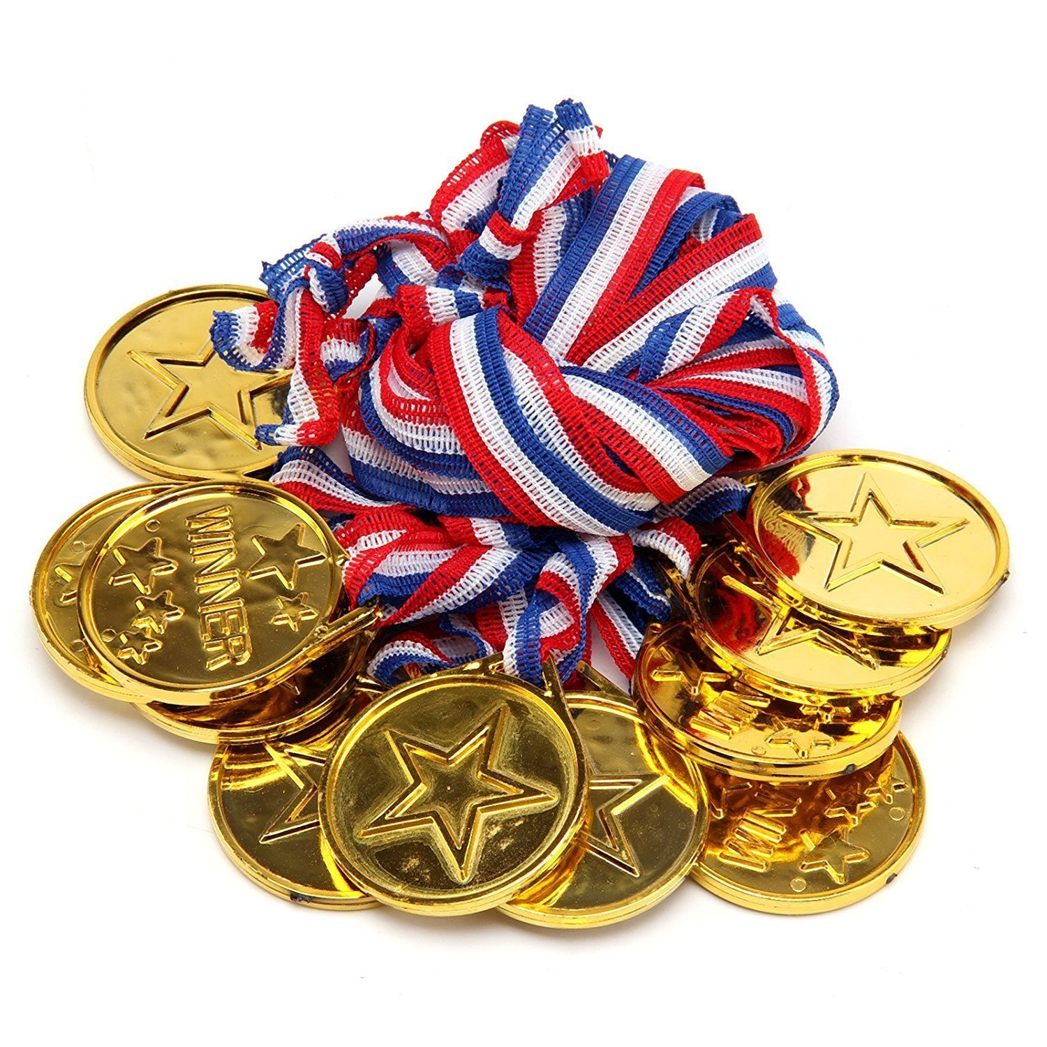 G4GADGET Good Quality Set of 24 Gold Plastic Winner Medals Necklaces Sports Day Awards Star Classroom kids awards