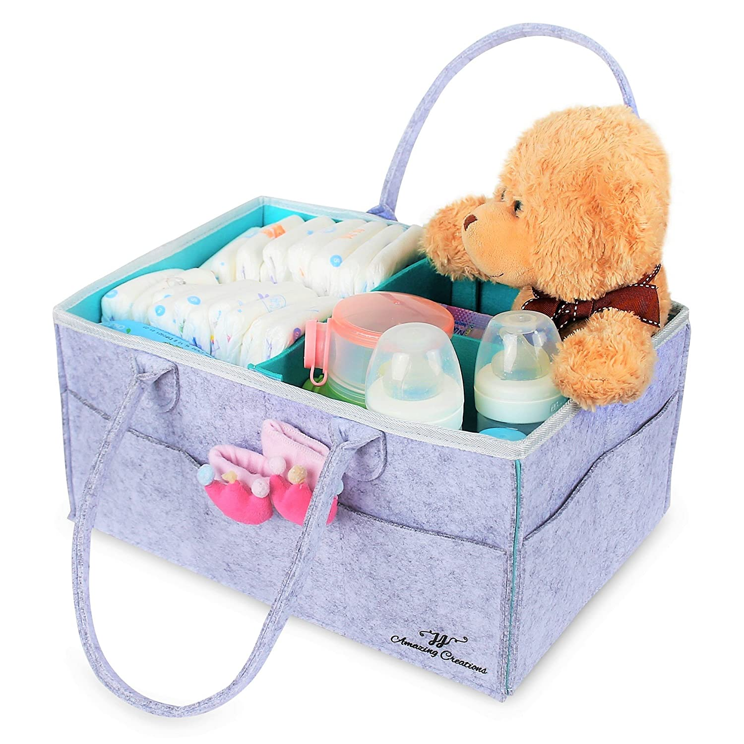 Baby Diaper Caddy Organizer : Portable Car Travel Bag | Grey Tote | Nursery Storage Bin for Changing Table | Newborn Registry Must Haves | Baby Shower Gift Basket for Boys and Girls | Stackers | Crib JJ Amazing Creations