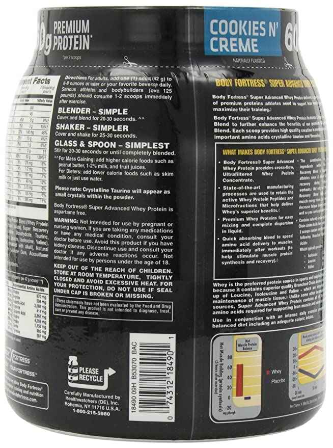 Body Fortress Super Advanced Whey Protein, Cookies N Cream, 1.95 Pounds by Body Fortress: Amazon.es: Salud y cuidado personal