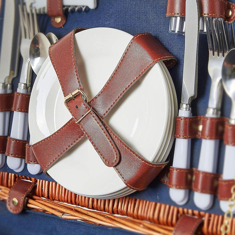 Blau Premium-Set mit Tellern Grandma Shark Deluxe 4 Person traditionelle Wicker PicknickKorb Wicker Hamper Geschirr und Servietten Weingl/äser