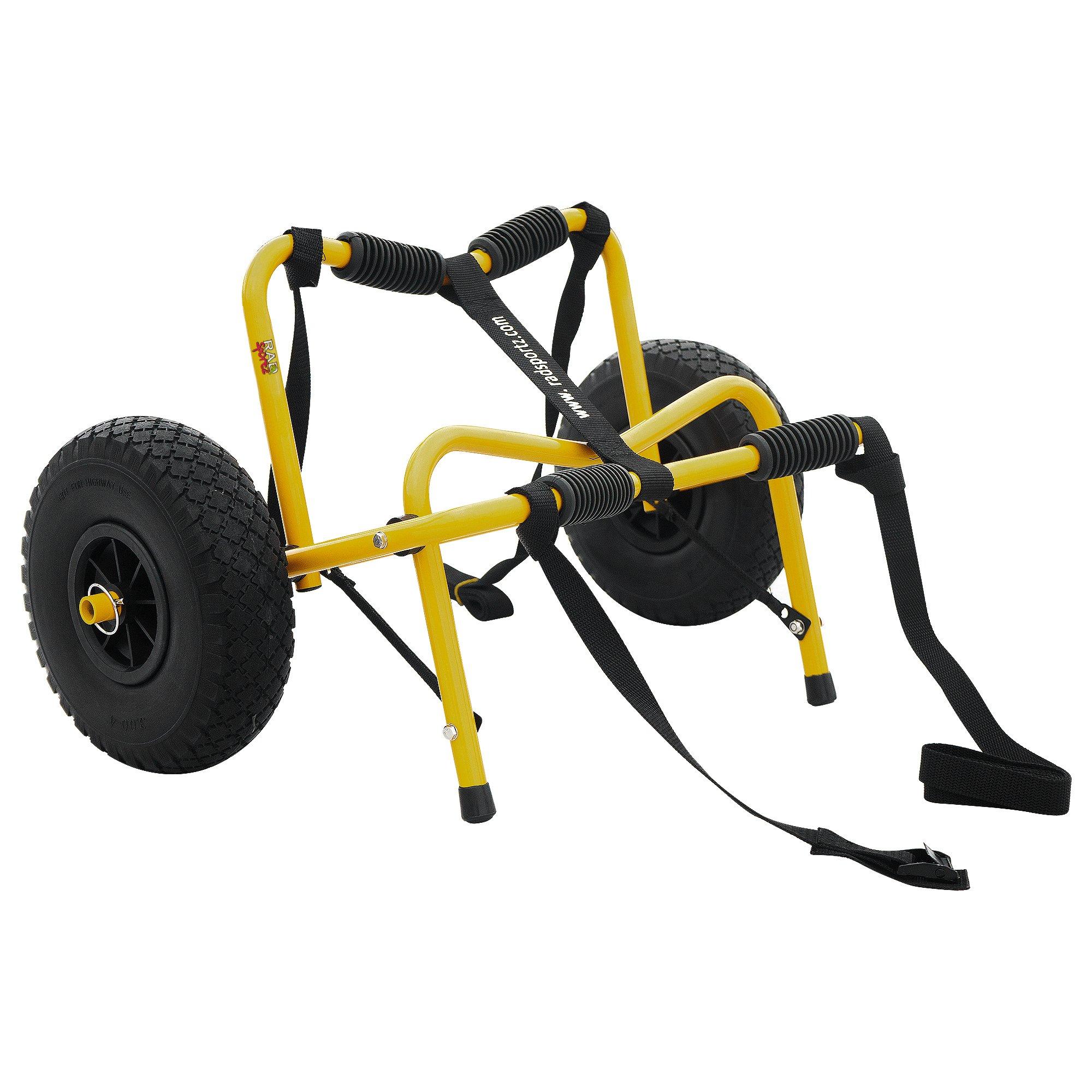 RAD Sportz Kayak Trolley Pro Premium Kayak Cart with NO-FLAT Airless Tires 150 LB Capacity Yellow with Free Mesh Carry Bag