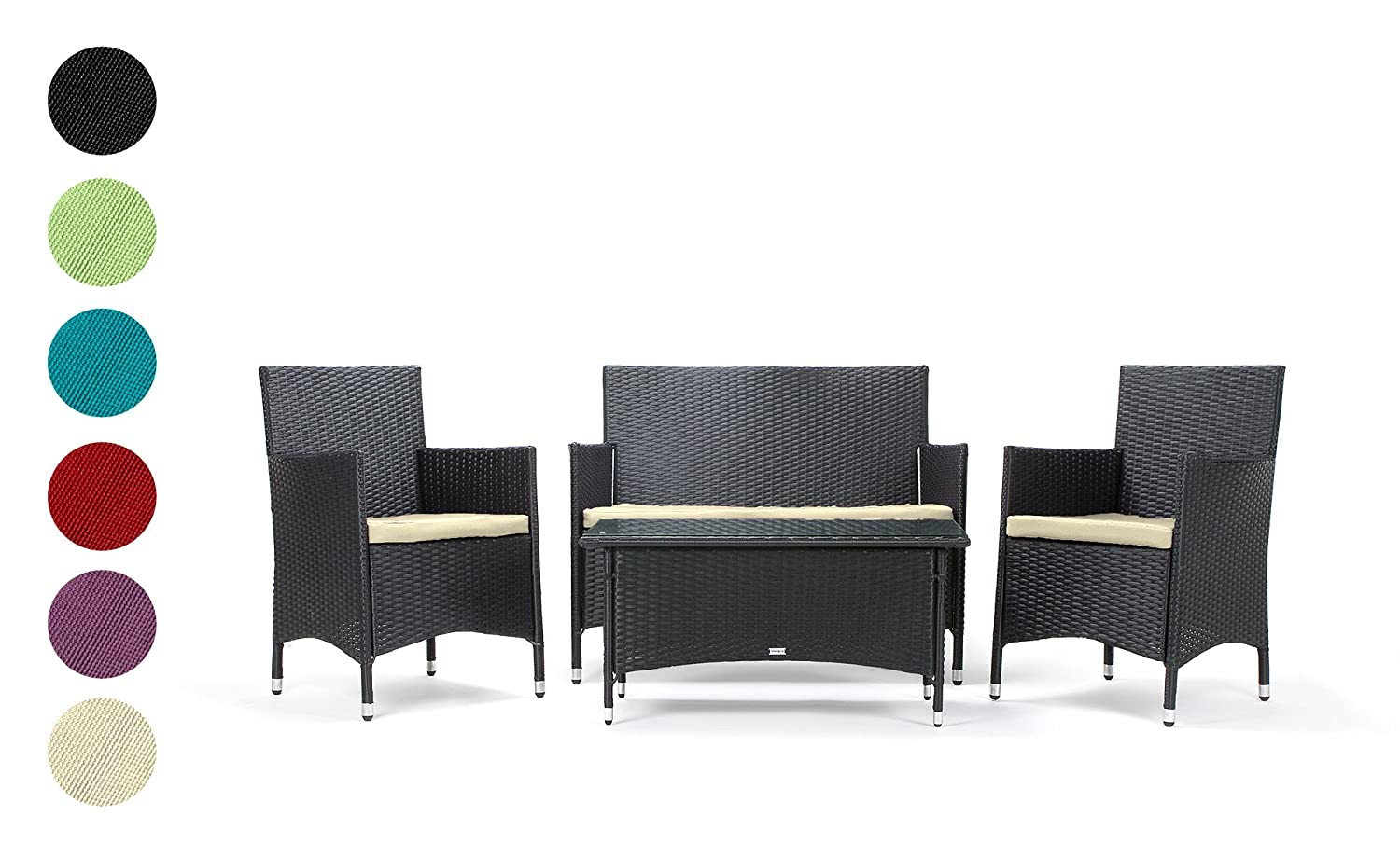 rattan gartenm bel sitzgruppe avignon 4 teilig schwarz stahlrahmen hochwertig handgeflochten 3. Black Bedroom Furniture Sets. Home Design Ideas