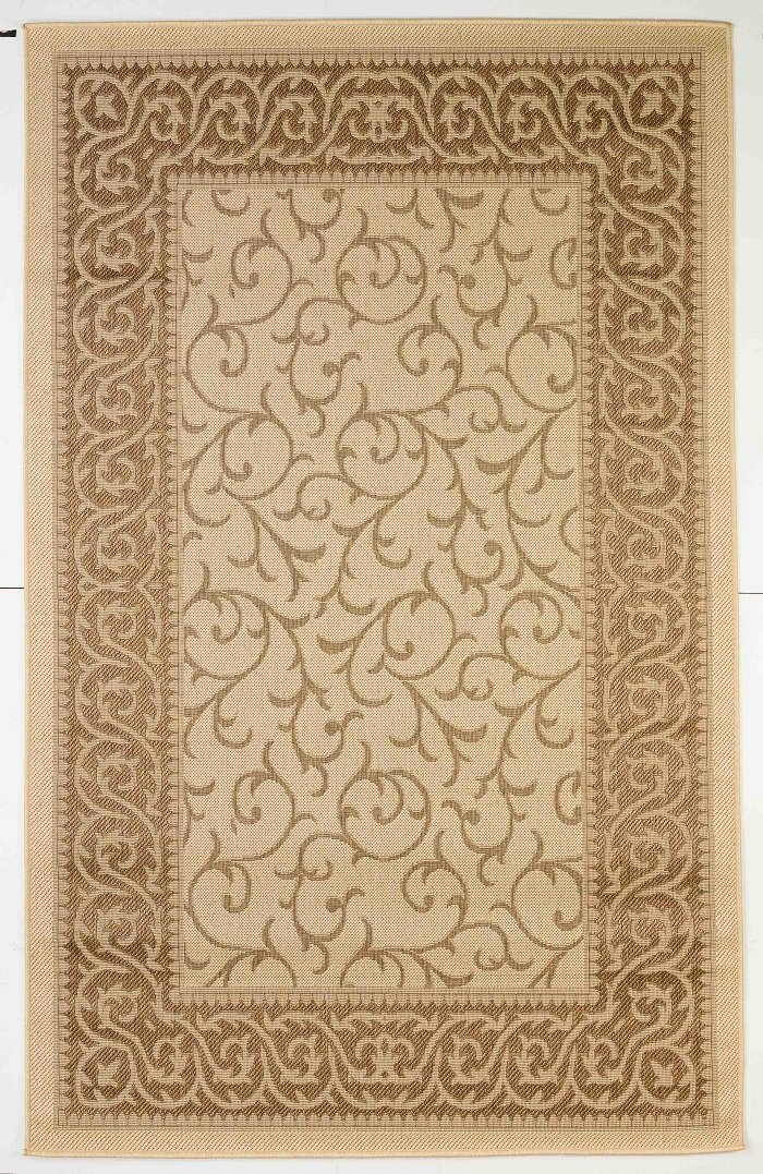 Outdoor Mats Flatweave Indoor/outdoor Floor Mats Rugs with Contemporary Key West Design for pools, Patios, Decks 4x6 (Cream, 3'11''x5'10'')