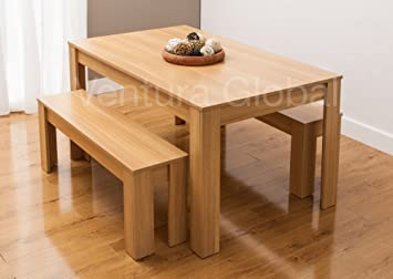 Astounding Dining Table With Faux Leather Chairs And Bench Oak Walnut Furniture Room Set By Smartdesignfurnishings Table 2 Benches Oak Caraccident5 Cool Chair Designs And Ideas Caraccident5Info
