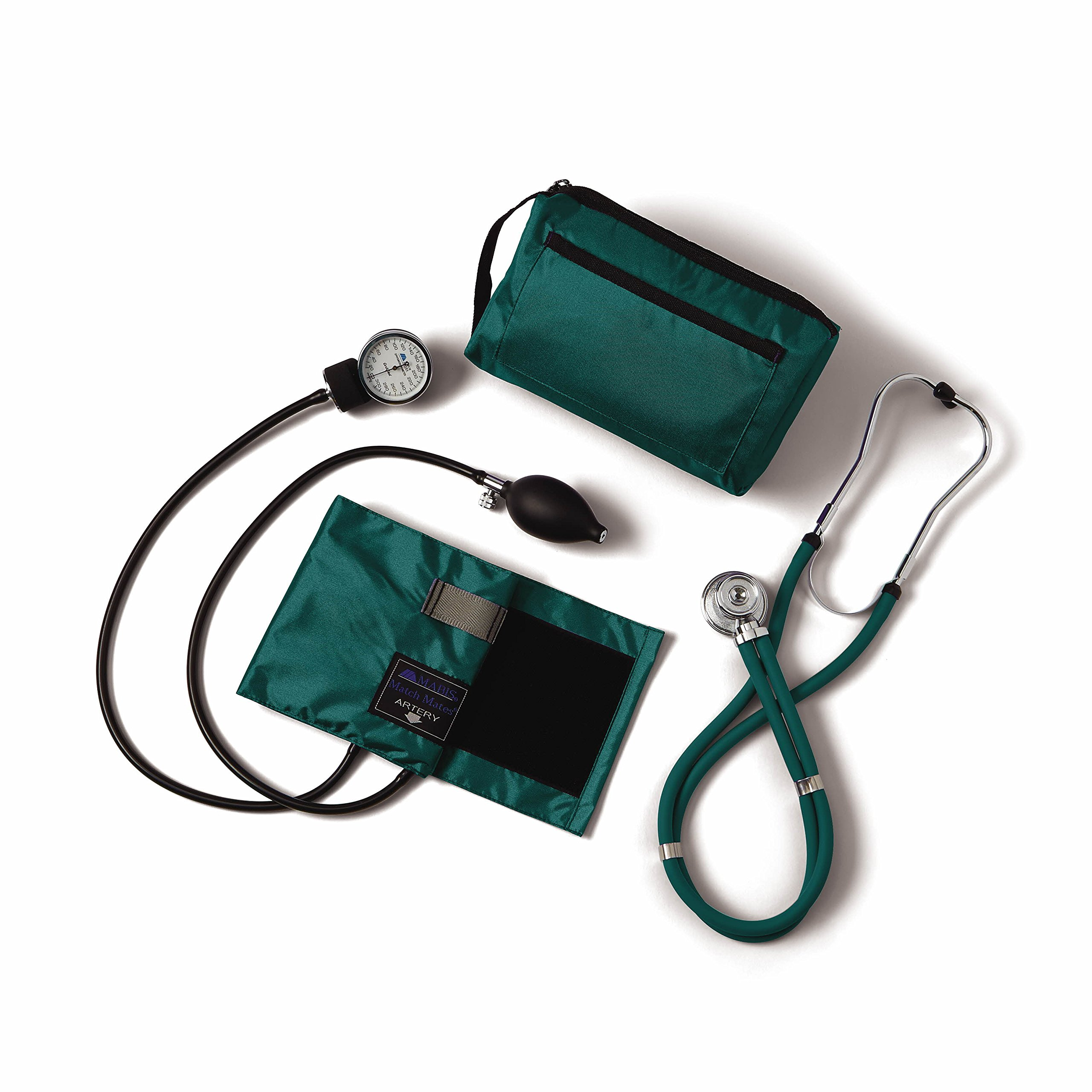 Medline Compli-Mates Aneroid Sphygmomanometer and Sprague Rappaport Stethoscope Kit, Carrying Case, Adult Blood Pressure Cuff, Manual, Professional, Hunter Green