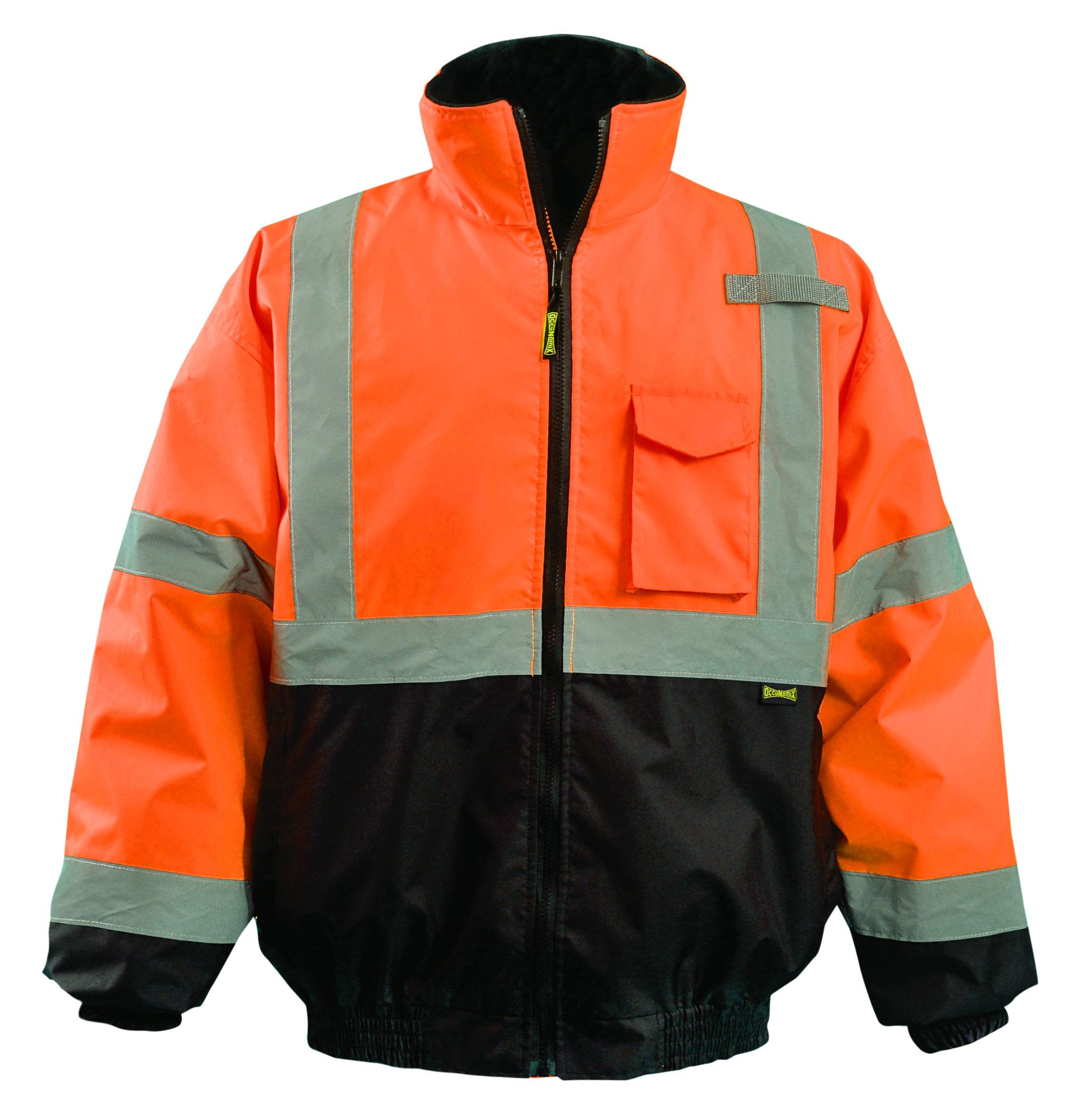 OccuNomix LUX-350-JB-BO2X High Visibility 2-in-1 Quilted Black Bottom Bomber Jacket with Zip-Out Quilted Liner and 7 Pockets, Class 3, 100% ANSI Polyester, 2X-Large, Orange