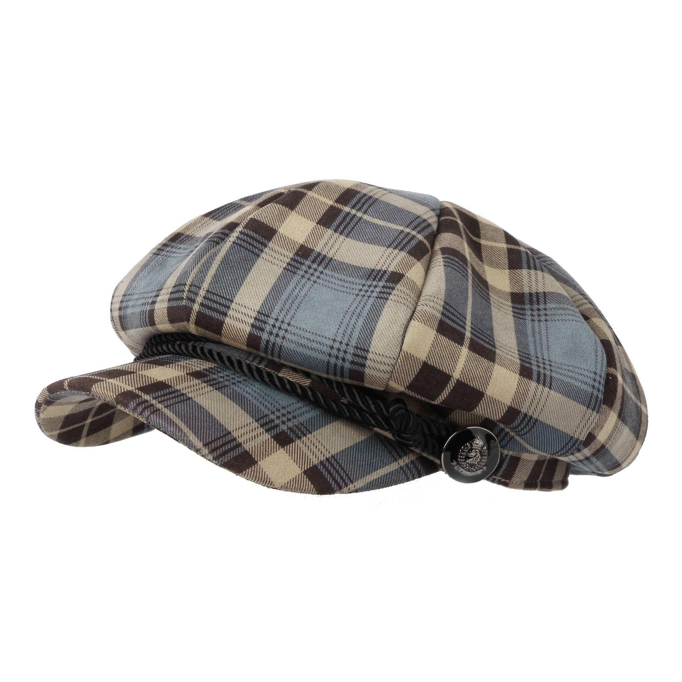 WITHMOONS Tartan Plaid Check Beret Newsboy Hat Soft Fabric SLG1122 (Blue) by WITHMOONS