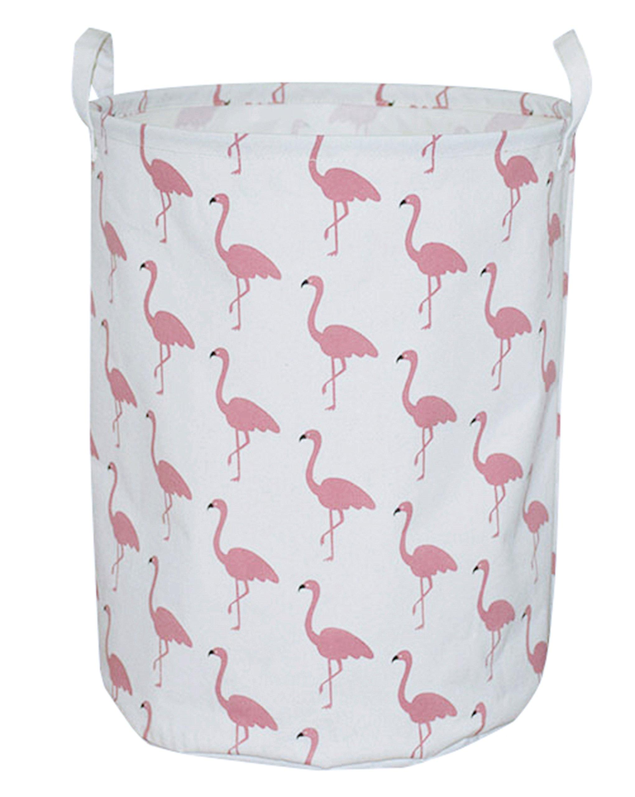 CLOCOR Large Storage Bin-Cotton storage Basket-Round Gift Basket with Handles for Toys,Laundry Storage (White flamingo)