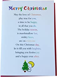 Merry Christmas - Pack of 5, Cute Merry Christmas Luxury Greetings Cards by Clarabelle Cards 5 x 7 inches to Send to Family, Friends and Colleagues This Christmastime