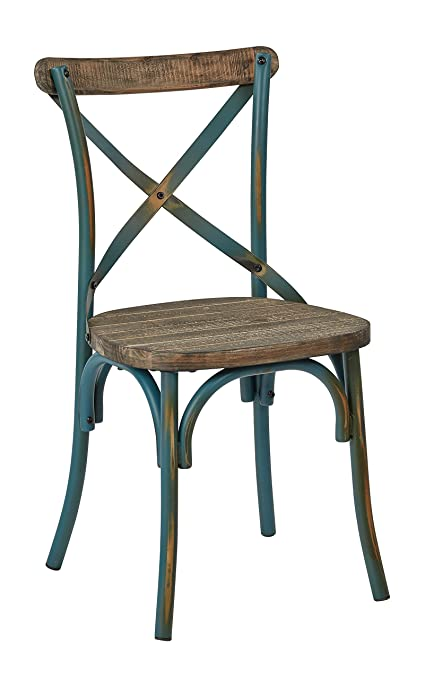 OSP Designs Somerset X Back Antique Metal Chair With Hardwood Rustic Seat  Finish, Turquoise