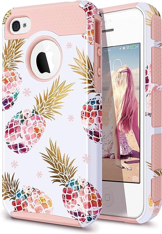 Coque pour iPhone 4, iPhone 4S, iPhone 4/4S avec ananas, Fingic Floral Ananas Coque de protection rigide en PC et caoutchouc souple pour iPhone ...