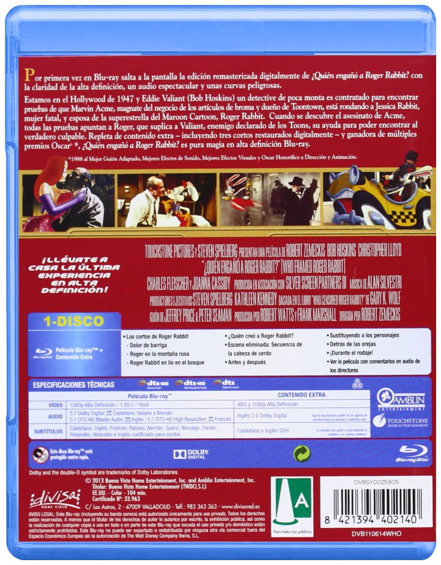 Quién engañó a Roger Rabbit? [Blu-ray]: Amazon.es: Bob Hoskins ...