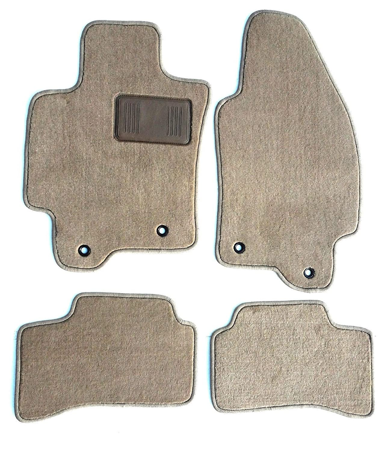 Jaguar X-Type Custom Fit Beige Carpet Replacement Floor Mats 4PC for 2004.5-2009-Serged Edges & Heel Pad