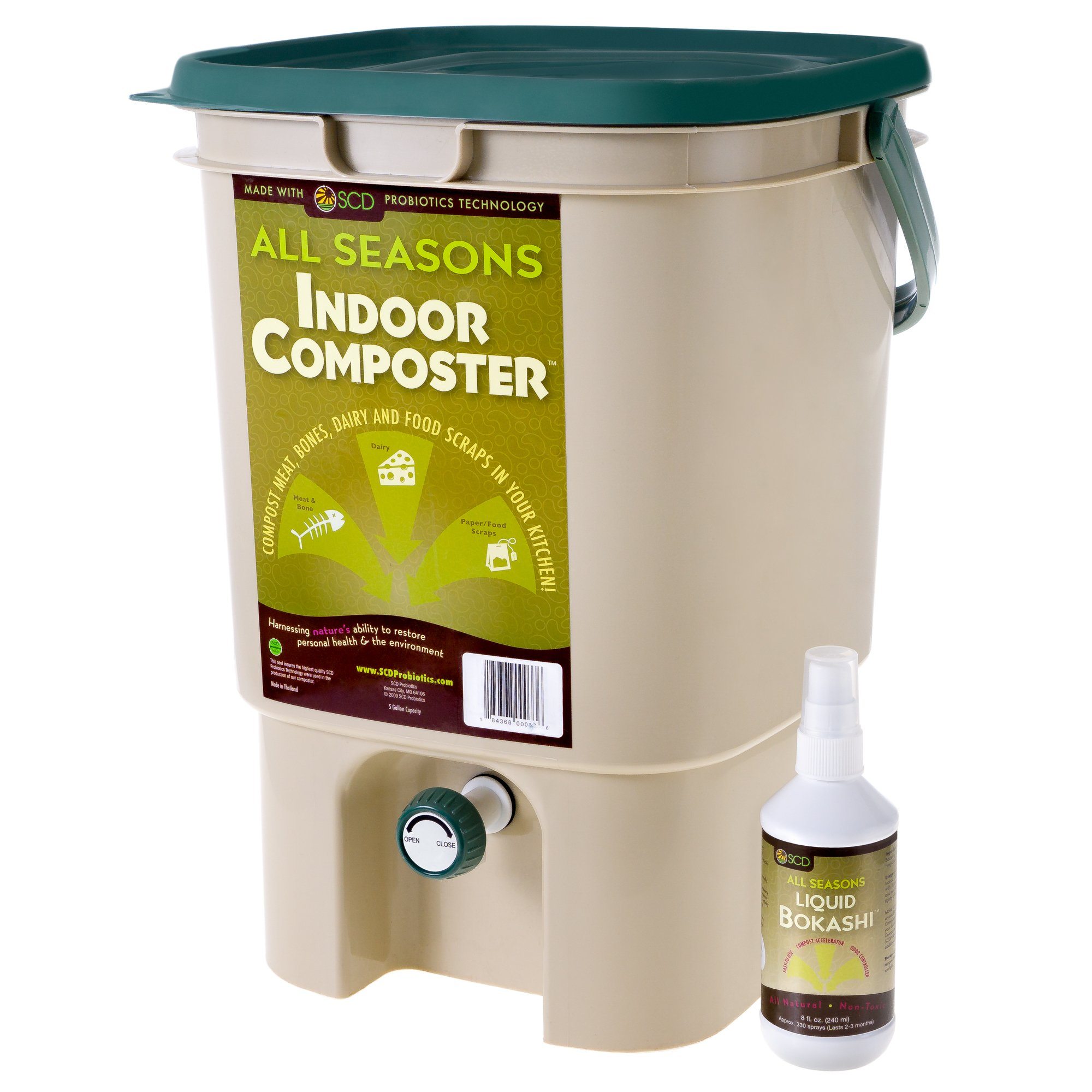 SCD Probiotics K200 All Seasons Indoor Composter Kit, Tan Bucket - 8 oz Liquid Bokashi
