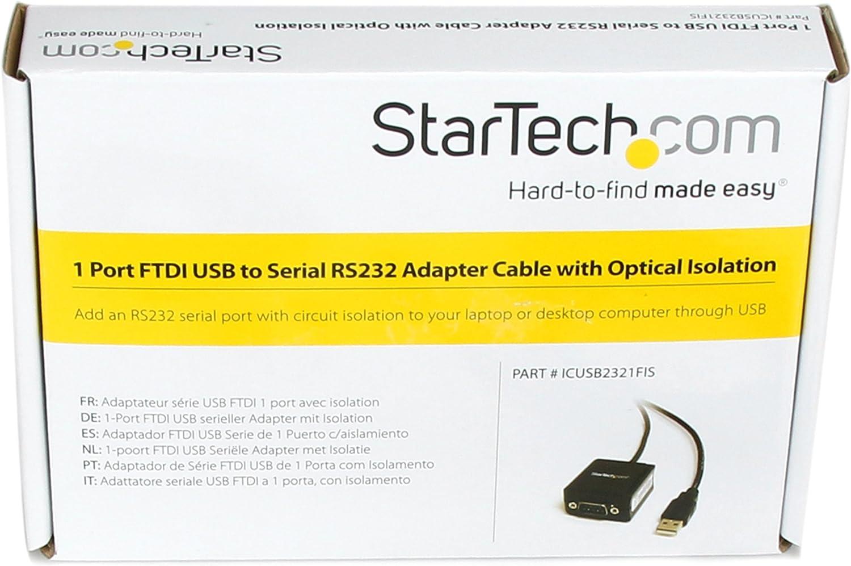 StarTech.com ICUSB2321FIS - Cable USB a 1 Puerto Serie RS232, Aislamiento óptico, 1.8 m: Startech: Amazon.es: Informática