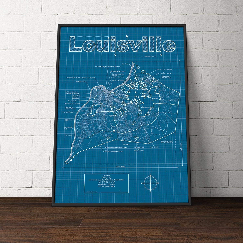 Amazon.com: Louisville, Kentucky Map - Blueprint Style: Handmade