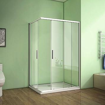 Armario de ducha con puerta corrediza doble, puerta corrediza de 6 mm, cubículo de seguridad, soporte de cristal, bandeja de ducha y residuos., 700x900mm: Amazon.es: Hogar