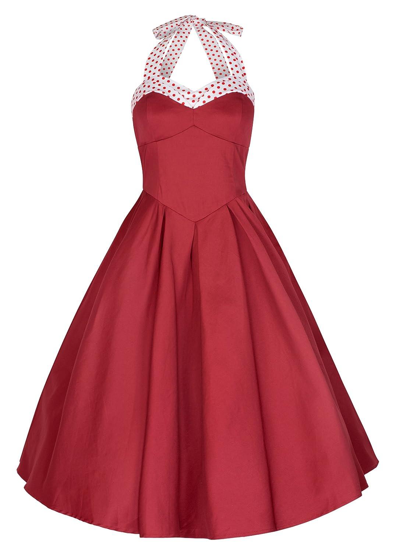 Lindy Bop 'Carola' Vintage 1950's Rockabilly Halter Neck Flared Swing Dress