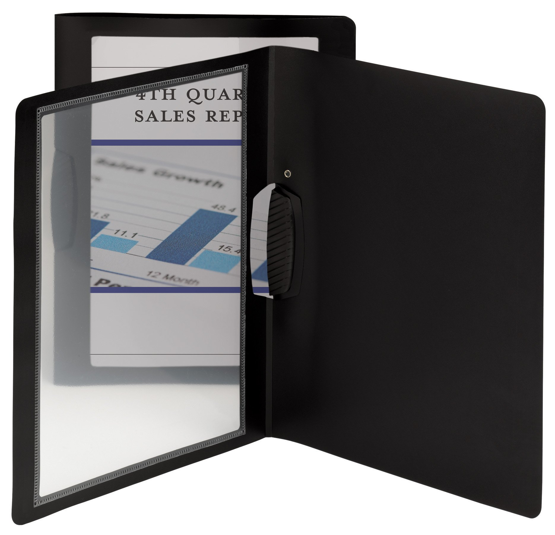 Smead Frame View Poly Report Cover with Swing Clip, Side Fastener, Up to 30 Sheets, Letter Size (Portrait Orientation), Black/Clear Front, 5 per Pack (86043)