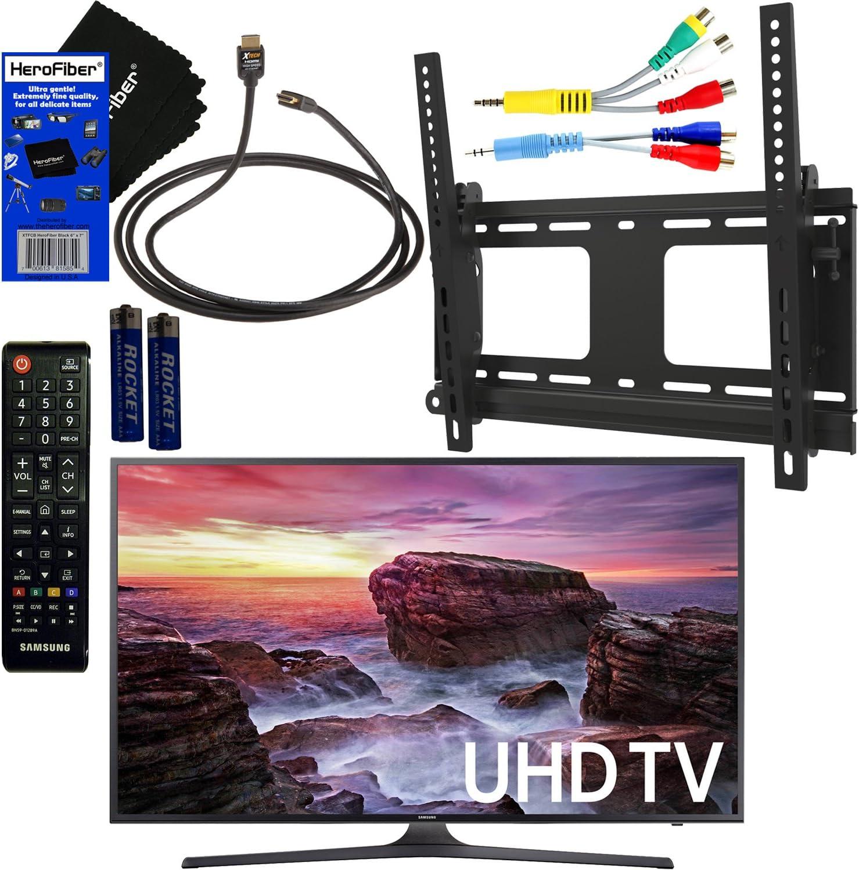 Samsung Electronics un40mu6290 40 pulgadas hdr 4 K Ultra HD Smart LED TV + fotolux TV Soporte de pared inclinable soporte + mando a distancia + Cable de vídeo de componentes +