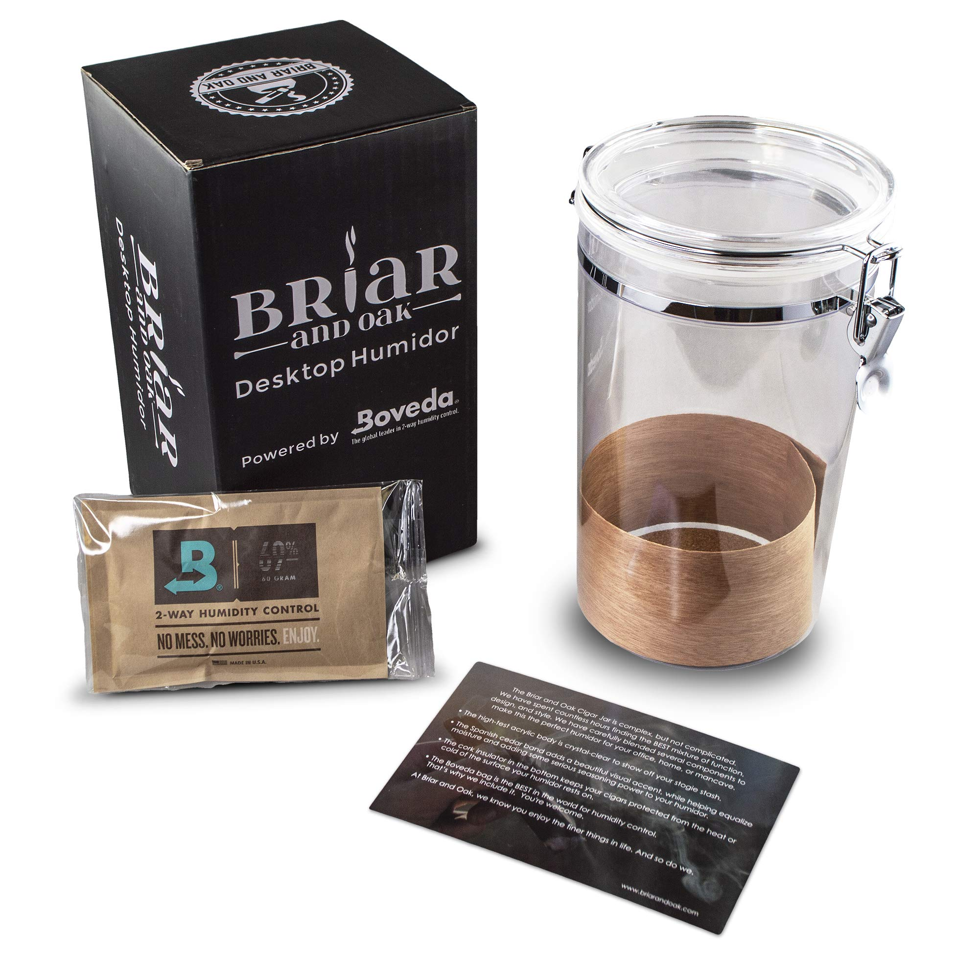 Desktop Acrylic Cigar Humidor Powered by Boveda 69 Humidity Pack with Spanish Cedar Liner for Cigar Display and Storage