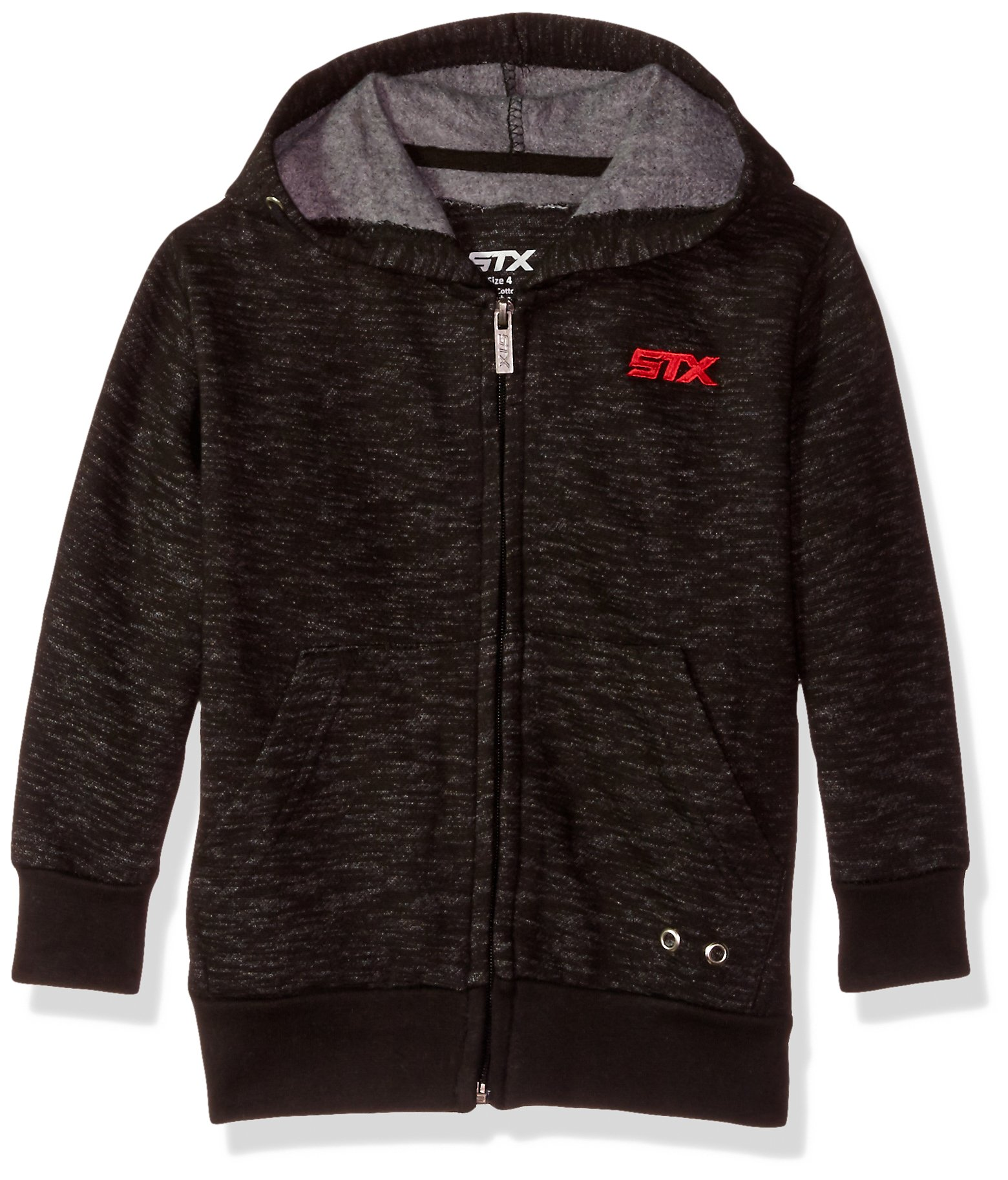 STX Big Boys' Solid Embro Hoodie, SI82-Black and Red, 8