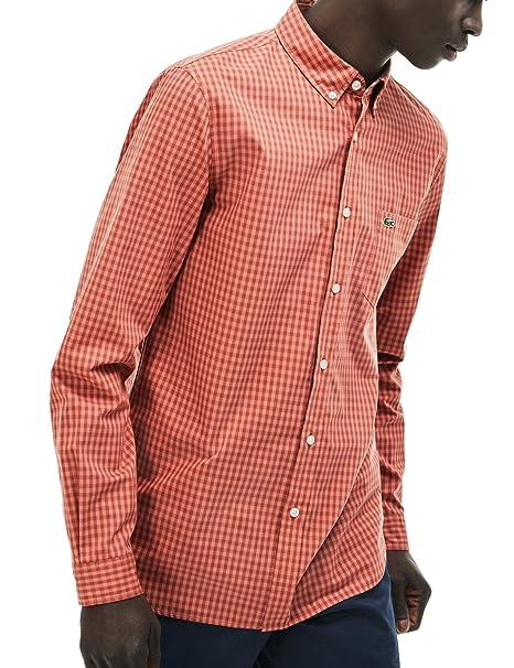 Lacoste Mens Green Regular Fit Check Pattern Long Sleeved Shirt ...