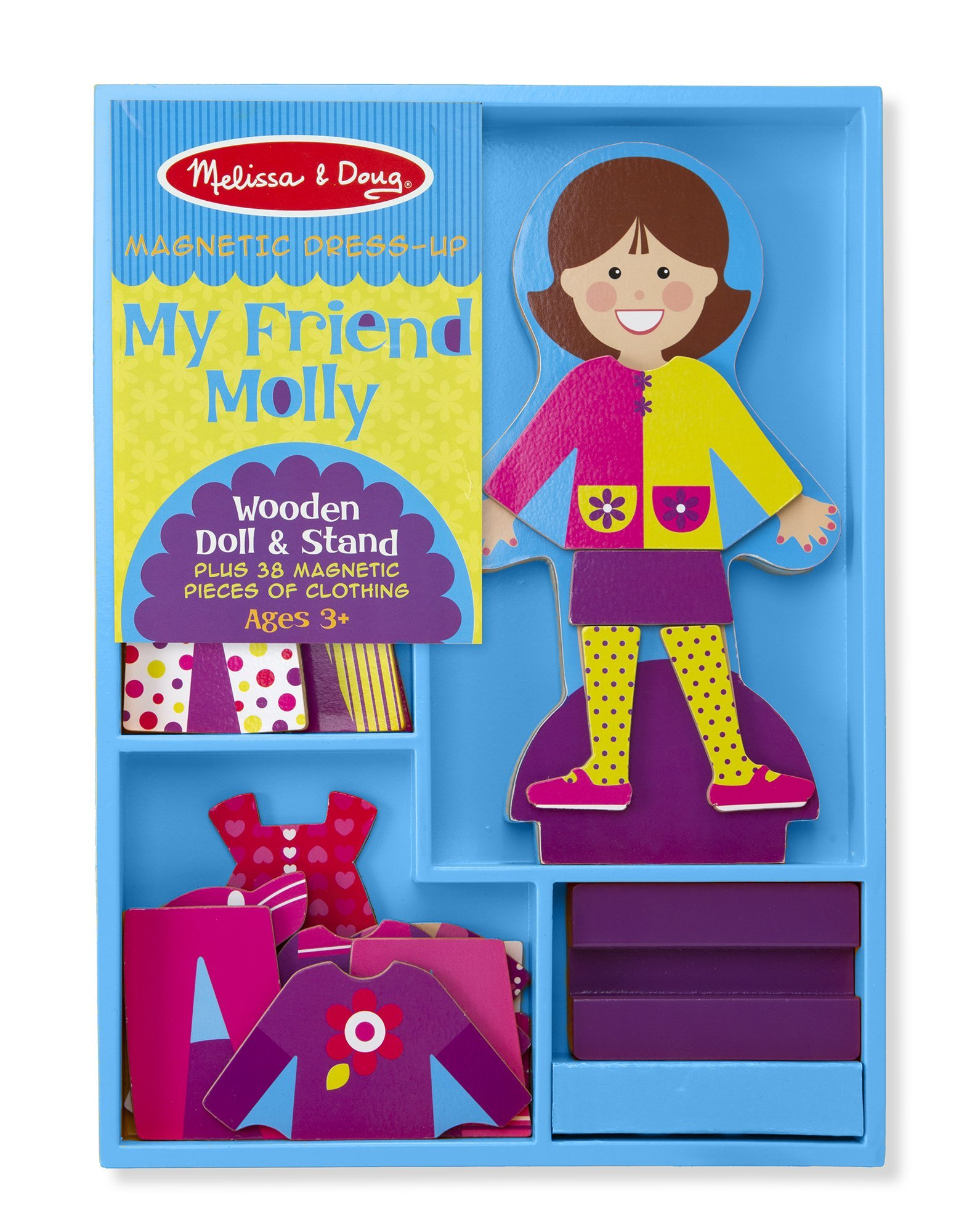 Melissa & Doug My Friend Molly Wooden Dress-Up Doll and Stand With Magnetic Accessories (38 pcs) by Melissa & Doug