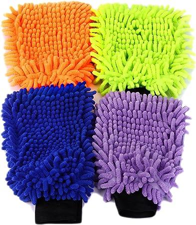 4 Set Wasserdicht Mikrofaser Waschhandschuh Autowaschhandschuh Reinigungshandschuh Reinigungstuch Reinigung Autopflege Polierhandschuh Pflege Handschuh Autowaesche Auto Motorrad 21 X 16 Cm 4 Farben Auto