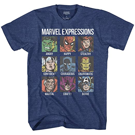 cb92107de Amazon.com: Avengers Expression Moods Spider-Man Hulk Thor Iron Man Black  Panther Strange America Kids Youth Boys Graphic Tee T-Shirt: Clothing