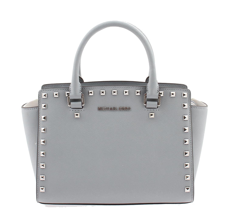c64e99f4e062 Michael Kors Selma Stud Medium Top Zip Satchel - 30T3SSMS2L DUWTY BLUE:  Handbags: Amazon.com